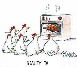 Reality TV cartoon - a chicken's perspective.
